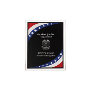 "Stars & Stripes Acrylic Award Plaque with clear beveled acrylic and American flag theme 6"" x 8"""
