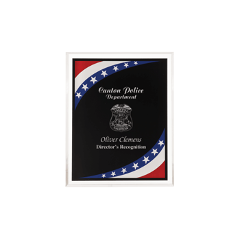 """Stars & Stripes Acrylic Award Plaque with clear beveled acrylic and American flag theme 6"""" x 8"""""""