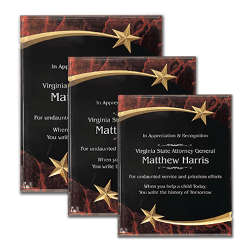 Red Marble Shooting Star Acrylic Award Plaque with black engraving area wrapped inside two shooting stars shown three sizes