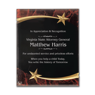 """Red Marble Shooting Star Acrylic Award Plaque with black engraving area wrapped inside two shooting stars 9"""" x 11"""""""