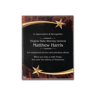 """Red Marble Shooting Star Acrylic Award Plaque with black engraving area wrapped inside two shooting stars 8"""" x 10"""""""