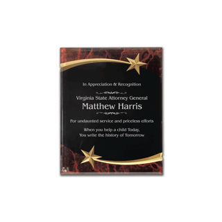 """Red Marble Shooting Star Acrylic Award Plaque with black engraving area wrapped inside two shooting stars 7"""" x 9"""""""