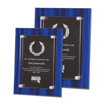 Blue Velvet Acrylic Award Plaque with screen printed back and clear acrylic cover suspended by silver hardware shown two sizes
