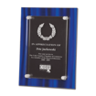 Blue Velvet Acrylic Award Plaque with screen printed back and clear acrylic cover suspended by silver hardware