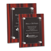 Red Velvet Acrylic Award Plaque with screen printed back and clear acrylic cover suspended by silver hardware shown two sizes