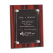 Red Velvet Acrylic Award Plaque with screen printed back and clear acrylic cover suspended by silver hardware
