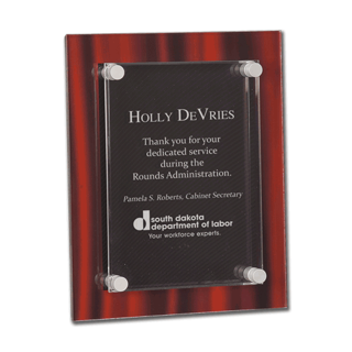 "Red Velvet Acrylic Award Plaque with screen printed back and clear acrylic cover suspended by silver hardware 9"" x 12"""