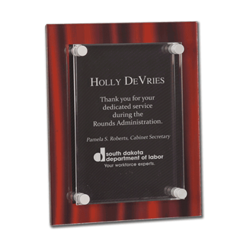 """Red Velvet Acrylic Award Plaque with screen printed back and clear acrylic cover suspended by silver hardware 9"""" x 12"""""""