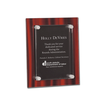 """Red Velvet Acrylic Award Plaque with screen printed back and clear acrylic cover suspended by silver hardware 8"""" x 10"""""""