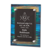 Brush Paint Acrylic Award Plaque with screen printed back and clear acrylic cover suspended by silver hardware