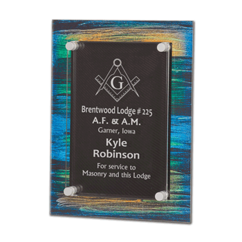 """Brush Paint Acrylic Award Plaque with screen printed back and clear acrylic cover suspended by silver hardware 9"""" x 12"""""""