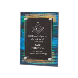 """Brush Paint Acrylic Award Plaque with screen printed back and clear acrylic cover suspended by silver hardware 8"""" x 10"""""""