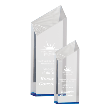 Blue Glacier Acrylic Award with free standing carved ice facets shown two sizes