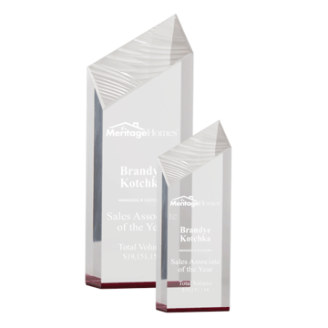 Red Glacier Acrylic Award with free standing carved ice facets shown two sizes