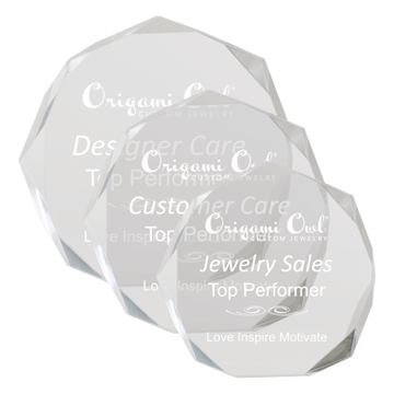 Corporate Octagon Acrylic Award with hand carved and polished octagon shaped facets shown three sizes