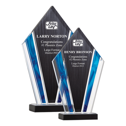 Deco Acrylic Award with clear upright screen printed with black and blue highlights shown two sizes