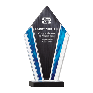 """Deco Acrylic Award with clear upright screen printed with black and blue highlights 12"""""""
