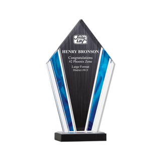 """Deco Acrylic Award with clear upright screen printed with black and blue highlights 10"""""""