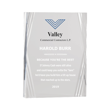 Diamond Corporate Acrylic Award with crystal clear diamond carved acrylic