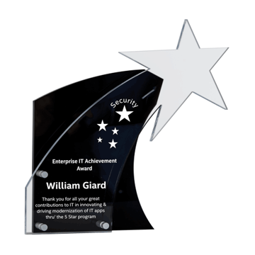 Flare Star Acrylic Award with black Lucite background and clear rising star supported with aluminum hardware
