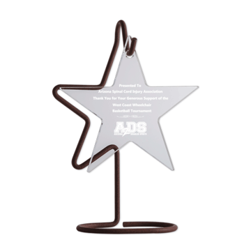 Hanging Star Acrylic Award with bronze copper wire holding up a crystal clear five point star