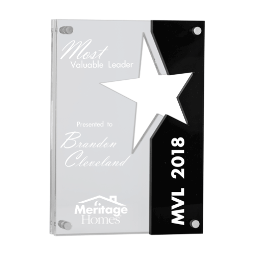 Hermes Star Acrylic Award with black Lucite accent suspended over clear acrylic with aluminum offsets