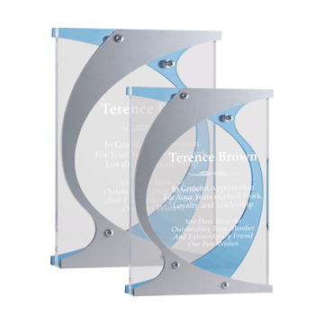 Hooks Acrylic Award with clear acrylic accented by blue and silver Lucite assembled with silver offsets shown two sizes