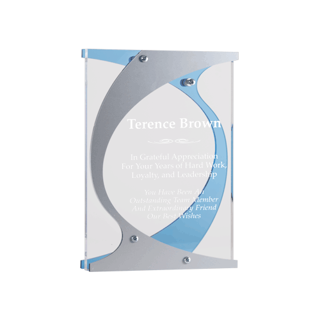 Hooks Acrylic Award with clear acrylic accented by blue and silver Lucite assembled with silver offsets 9""