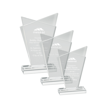 Infinity Acrylic Award with retro style clear acrylic frosted accents mounted on a clear base shown three sizes