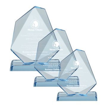 Jewel Acrylic Award of blue tinted acrylic with hand carved and polished facets shown three sizes