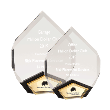 Marquis Acrylic Award with diamond shape and black Lucite with gold mirror shown two sizes