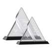Zenon Triangle Acrylic Award with clear faceted components creating unique triangle design on black Lucite base shown two sizes