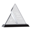 Zenon Triangle Acrylic Award with clear faceted components creating unique triangle design on black Lucite base