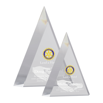 Placidio Acrylic Award of hand carved clear acrylic with deep bevels creating a unique triangle shape shown two sizes