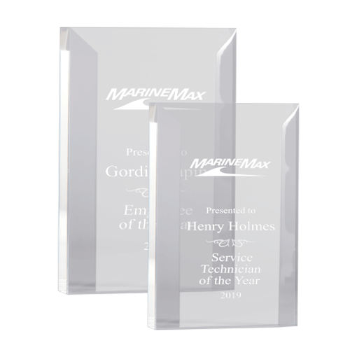 Marvelle Acrylic Award of crystal clear acrylic bevel cut into a free standing rectangle shown two sizes