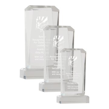 Facet Acrylic Award in rectangular shape with hand polished facets shown three sizes