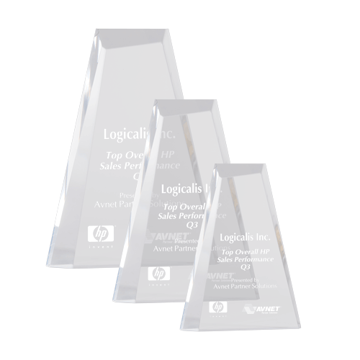 Riva Acrylic Award with hand cut and polished facets in pinnacle shape shown three sizes
