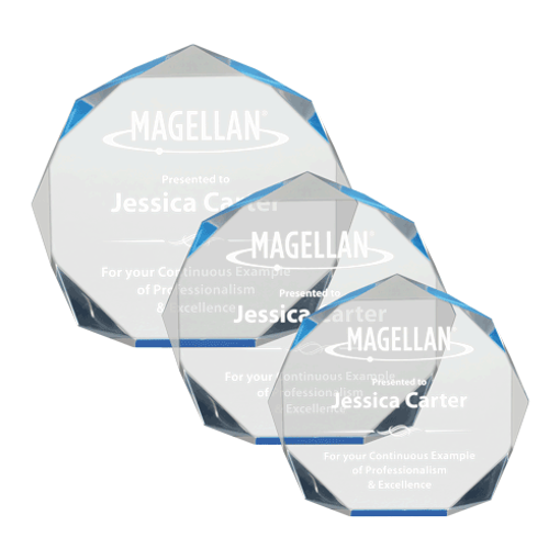 Blue Spectra Octagon Acrylic Award of blue tinted acrylic with hand polished octagon shaped facets shown three sizes