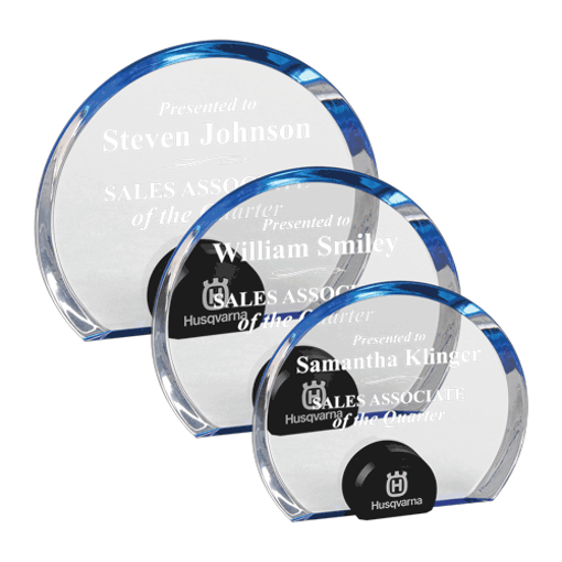 Blue Halo Circle Acrylic Award with blue tinted round acrylic held upright with black anodized aluminum disk shown three sizes