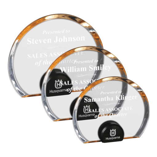 Gold Halo Circle Acrylic Award with blue tinted round acrylic held upright with black anodized aluminum disk shown three sizes