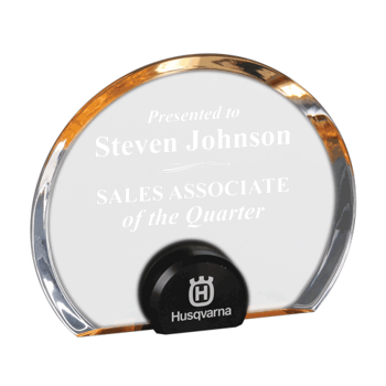 """Gold Halo Circle Acrylic Award with blue tinted round acrylic held upright with black anodized aluminum disk 6"""""""