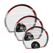 Red Halo Circle Acrylic Award with blue tinted round acrylic held upright with black anodized aluminum disk shown three sizes