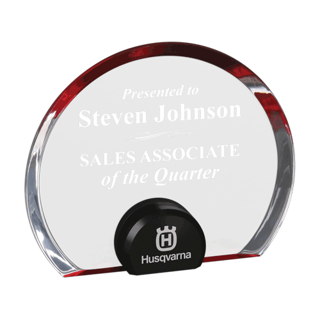 Red Halo Circle Acrylic Award with blue tinted round acrylic held upright with black anodized aluminum disk 6""