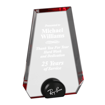 Red Halo Pinnacle Acrylic Award with blue tinted round acrylic held upright with black anodized aluminum disk