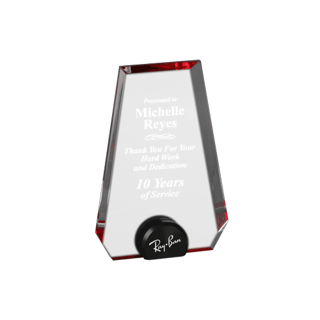 Red Halo Pinnacle Acrylic Award with blue tinted round acrylic held upright with black anodized aluminum disk 6""
