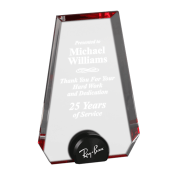 """Red Halo Pinnacle Acrylic Award with blue tinted round acrylic held upright with black anodized aluminum disk 8"""""""