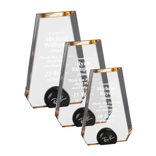Gold Halo Pinnacle Acrylic Award with blue tinted round acrylic held upright with black anodized aluminum disk shown three sizes