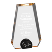 Gold Halo Pinnacle Acrylic Award with blue tinted round acrylic held upright with black anodized aluminum disk
