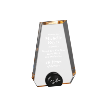 """Gold Halo Pinnacle Acrylic Award with blue tinted round acrylic held upright with black anodized aluminum disk 6"""""""