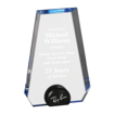 Blue Halo Pinnacle Acrylic Award with blue tinted round acrylic held upright with black anodized aluminum disk